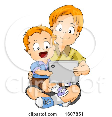 Kids Boy Baby Sit Brother Tablet Illustration by BNP Design Studio