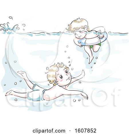 Kids Boys Swim Teach Brotherly Duty Illustration by BNP Design Studio