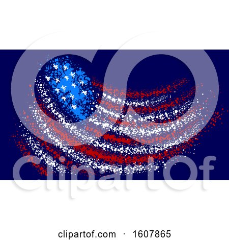 American Flag Pointillism Illustration Posters, Art Prints