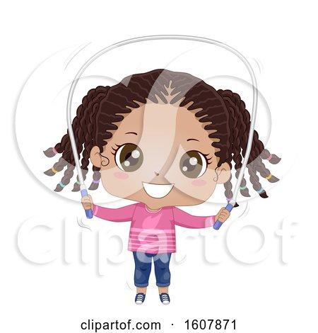 Kid Girl Black Jumping Rope Illustration by BNP Design Studio