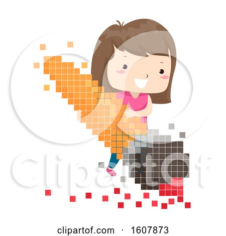 Kid Girl Brush Pixels Illustration by BNP Design Studio