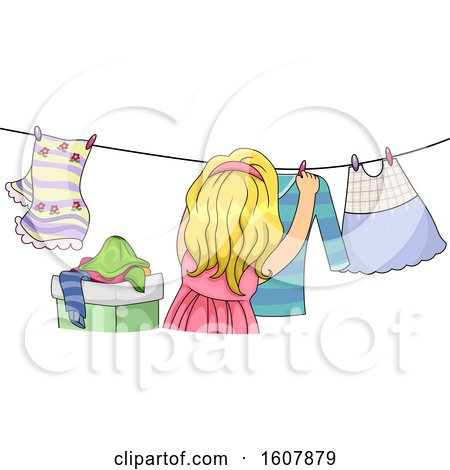 Kid Girl Life Skill Hanging Dress Illustration by BNP Design Studio