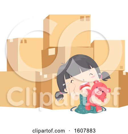 Kid Girl Pack Moving Cry Illustration by BNP Design Studio