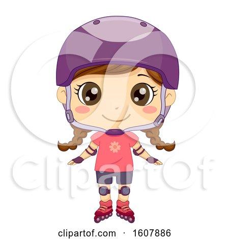 Kid Girl Pose Roller Blades Illustration by BNP Design Studio