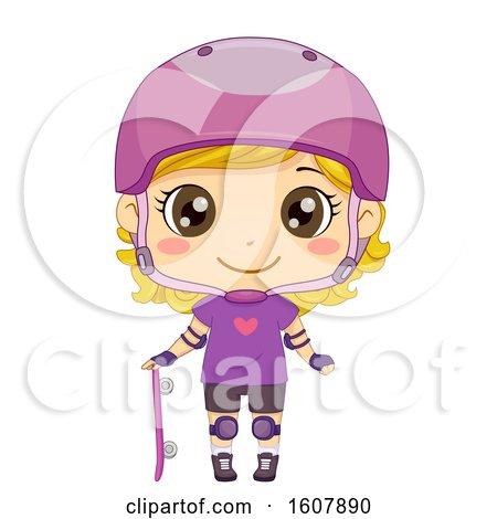 Kid Girl Skate Boarder Illustration Posters, Art Prints