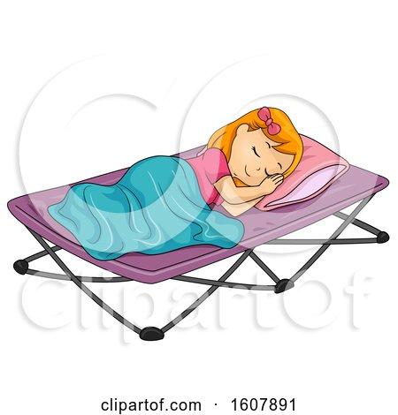 Kid Girl Sleep Camping Bed Illustration by BNP Design Studio