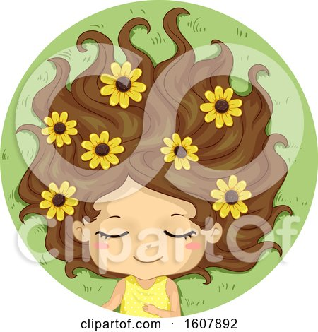 Kid Girl Sleep Flower Field Illustration by BNP Design Studio