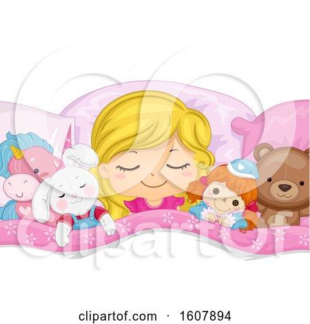 Kid Girl Sleep Stuffed Toys Illustration by BNP Design Studio