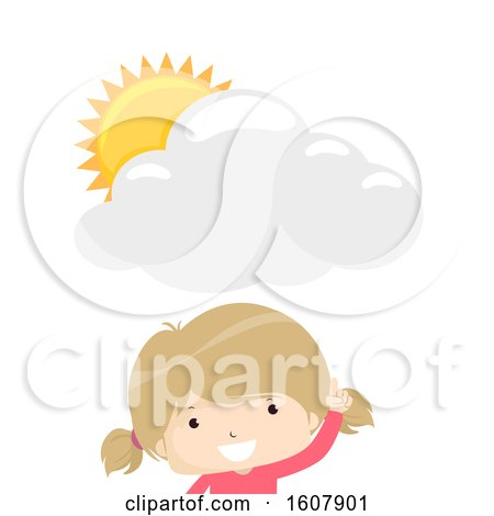 Kid Girl Tell Weather Illustration by BNP Design Studio