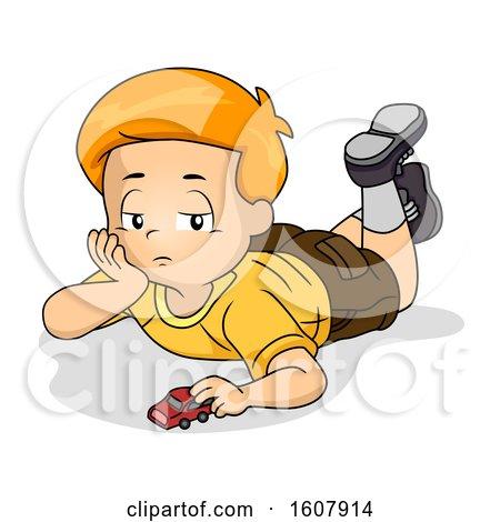 Kid Boy Bored Play Toy Illustration by BNP Design Studio
