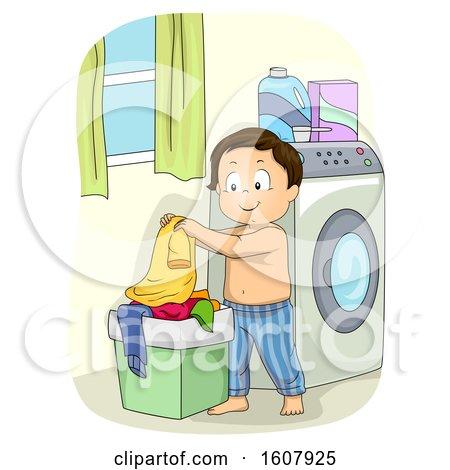 Kid Boy Laundry Basket Illustration by BNP Design Studio