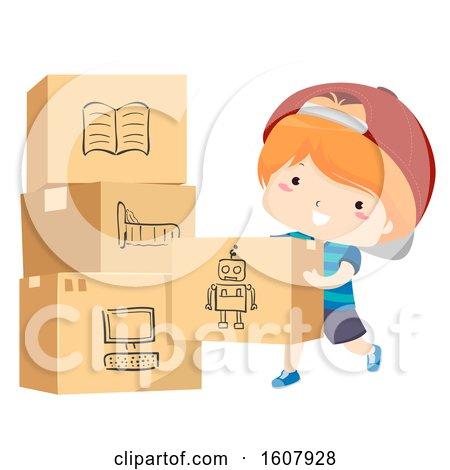 Kid Boy Moving Pack Things Illustration by BNP Design Studio