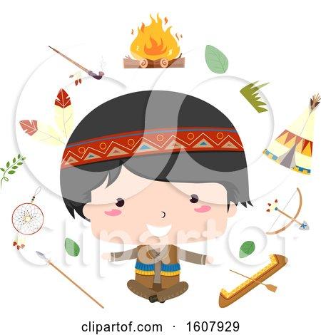 Kid Boy Native American Share Culture Illustration by BNP Design Studio