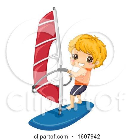 Kid Boy Sports Wind Surfing Illustration by BNP Design Studio