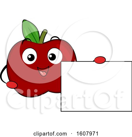Red Apple Mascot Holding a Blank Sign Clipart by BNP Design Studio