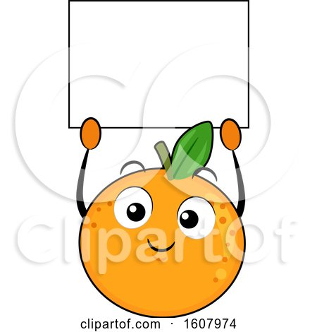 Orange Mascot Holding a Blank Sign Clipart by BNP Design Studio