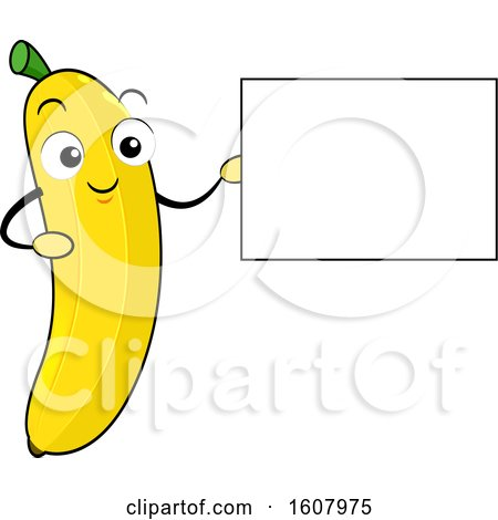 Banana Mascot Holding a Blank Sign Clipart by BNP Design Studio