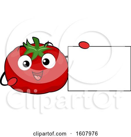 Tomato Mascot Holding a Blank Sign Clipart by BNP Design Studio