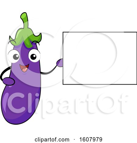 Purple Eggplant Vegetable Mascot Holding a Blank Sign Clipart by BNP Design Studio