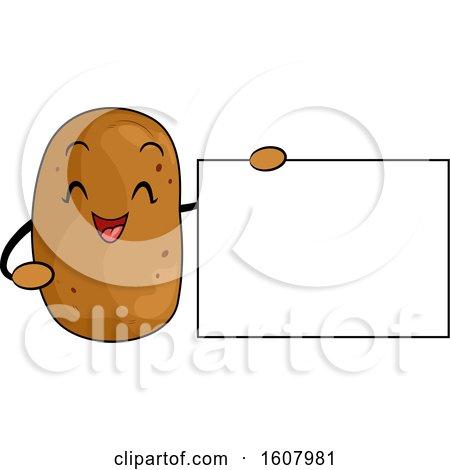 Potato Vegetable Mascot Holding a Blank Sign Clipart by BNP Design Studio
