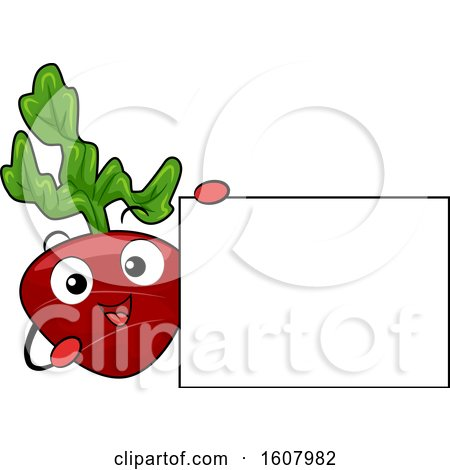 Beet Vegetable Mascot Holding a Blank Sign Clipart by BNP Design Studio