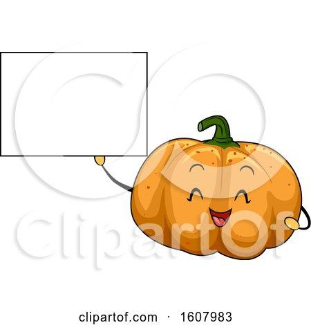 Pumpkin Vegetable Mascot Holding a Blank Sign Clipart by BNP Design Studio