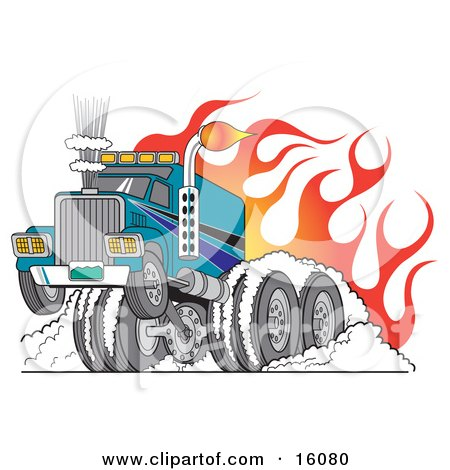 Tough Big Rig Hot Rod Truck Flaming And Smoking Its Rear Tires Doing a Burnout in Flames and a Wheelie Posters, Art Prints