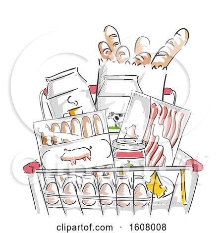 Grocery Cart Foods Illustration by BNP Design Studio
