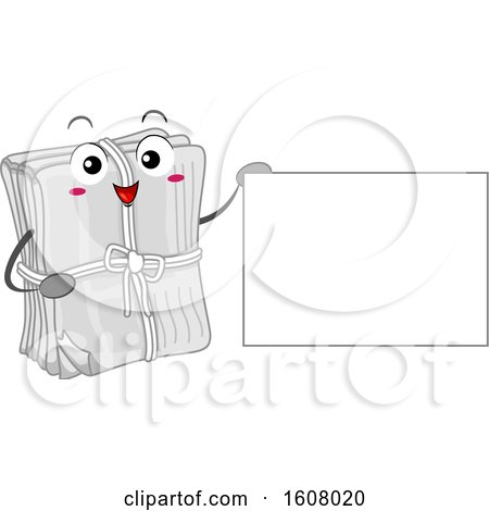 Newspaper Recycle Mascot Holding a Blank Sign Clipart by BNP Design Studio