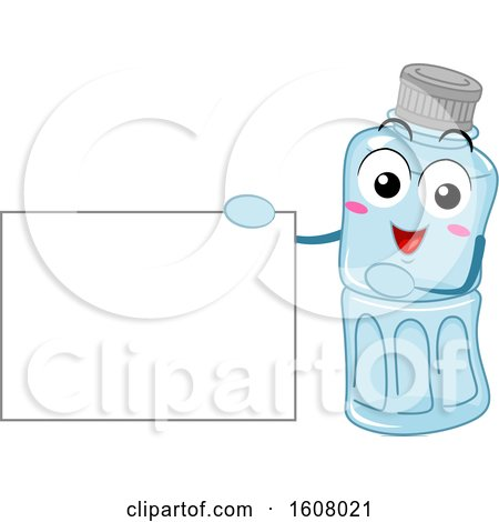 Plastic Recycle Mascot Holding a Blank Sign Clipart by BNP Design Studio