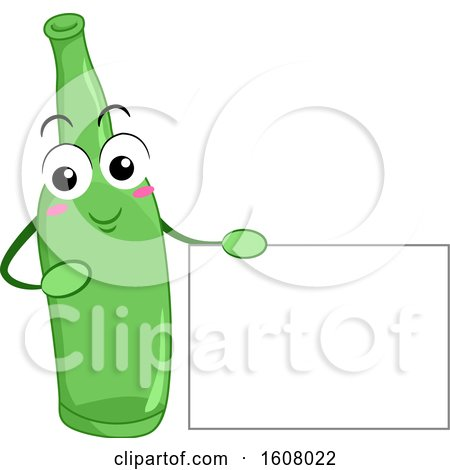 Glass Bottle Recycle Mascot Holding a Blank Sign Clipart by BNP Design Studio