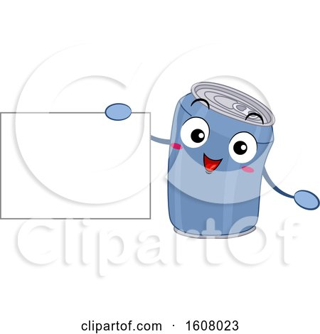 Aluminum Can Recycle Mascot Holding a Blank Sign Clipart by BNP Design Studio