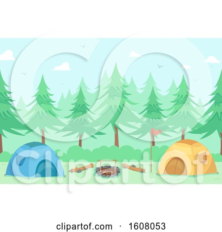 Camping Tents Outdoors Illustration by BNP Design Studio