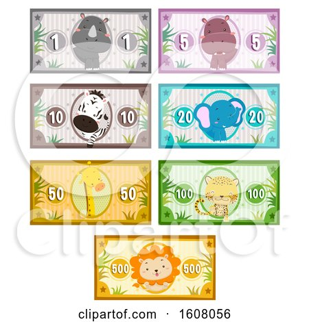 Animals Safari Money Printables Illustration by BNP Design Studio