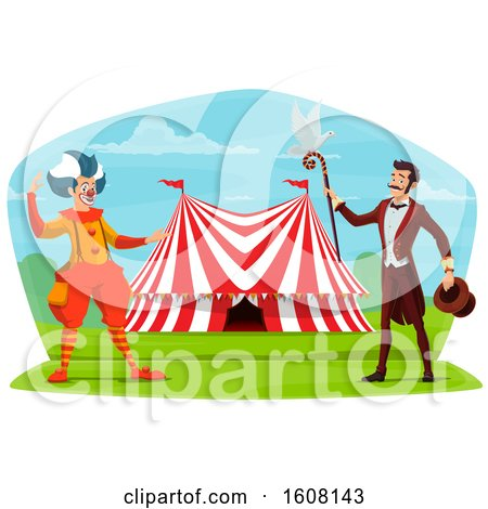 Clipart of a Performing Circus Clown and Ringmaster - Royalty Free Vector Illustration by Vector Tradition SM