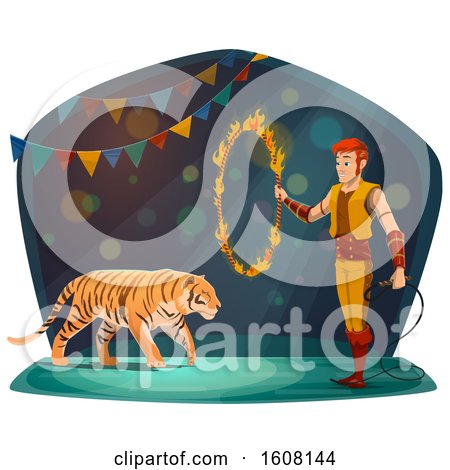 Clipart of a Performing Tiger Trainer and Ring of Fire - Royalty Free Vector Illustration by Vector Tradition SM