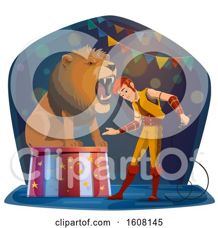 Clipart of a Performing Lion Tamer - Royalty Free Vector Illustration by Vector Tradition SM