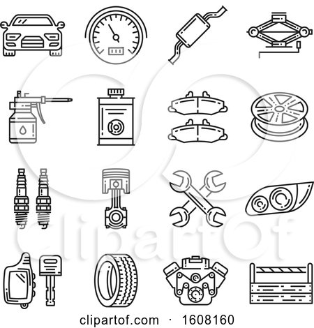 Clipart of Car Repair Icons - Royalty Free Vector Illustration by Vector Tradition SM