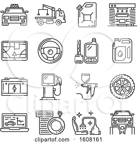 Clipart of Automotive Icons - Royalty Free Vector Illustration by Vector Tradition SM