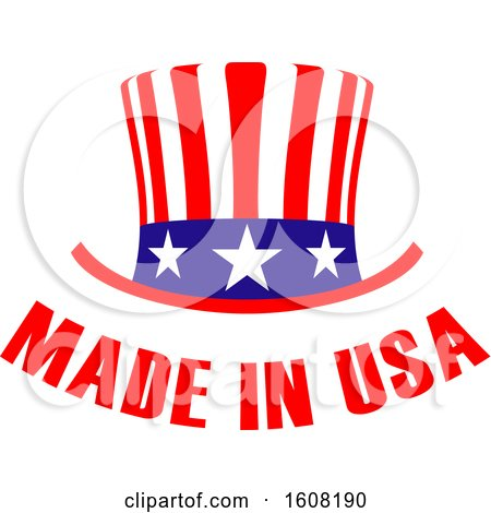 Clipart of a Made in the Usa Design with a Top Hat - Royalty Free Vector Illustration by Vector Tradition SM
