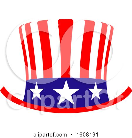 Clipart of a Usa Design with a Top Hat - Royalty Free Vector Illustration by Vector Tradition SM