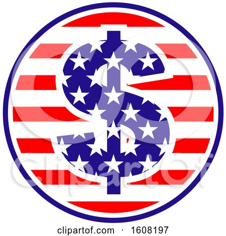 Clipart of a Usa Design with a Dolalr Sign - Royalty Free Vector Illustration by Vector Tradition SM