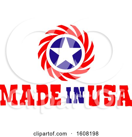 Clipart of a Made in the Usa Design with a Star - Royalty Free Vector Illustration by Vector Tradition SM