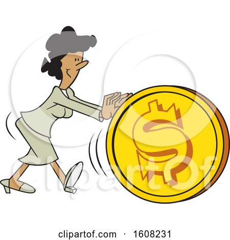 Clipart of a Cartoon Black Business Woman Getting the Ball Rolling, Pushing a Dollar Coin Ball - Royalty Free Vector Illustration by Johnny Sajem