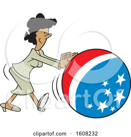 Clipart of a Cartoon Black Business Woman Getting the Ball Rolling, with an American Theme - Royalty Free Vector Illustration by Johnny Sajem