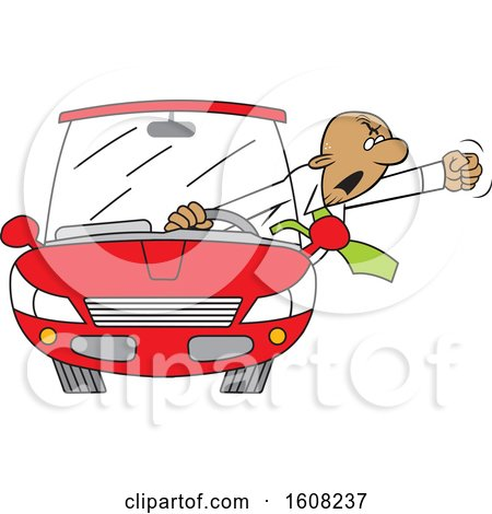 Clipart of a Cartoon Black Male Senior Driver with Road Rage Waving His Fist out of His Window - Royalty Free Vector Illustration by Johnny Sajem