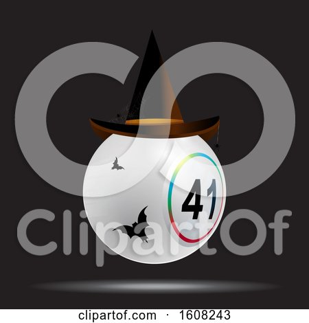 Clipart of a 3D White Bingo Lottery Ball with Halloween Hat and Bats over Black Background - Royalty Free Vector Illustration by elaineitalia
