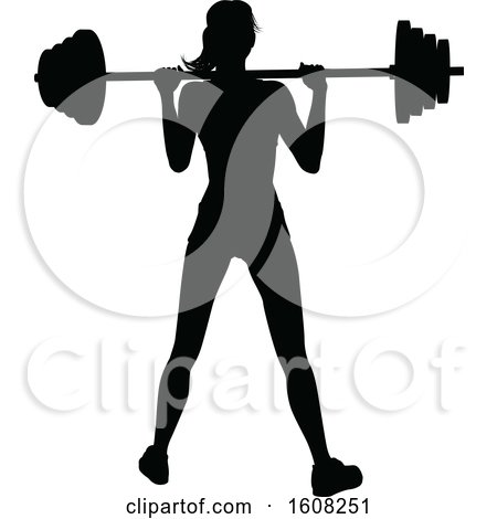 Clipart of a Silhouetted Woman Working out with a Barbell - Royalty Free Vector Illustration by AtStockIllustration