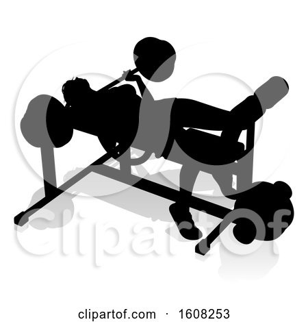 Clipart of a Silhouetted Woman Working out on a Bench Press, with a Shadow, on a White Background - Royalty Free Vector Illustration by AtStockIllustration