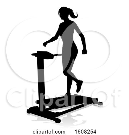 Clipart of a Silhouetted Woman Working out on a Treadmill, with a Shadow, on a White Background - Royalty Free Vector Illustration by AtStockIllustration